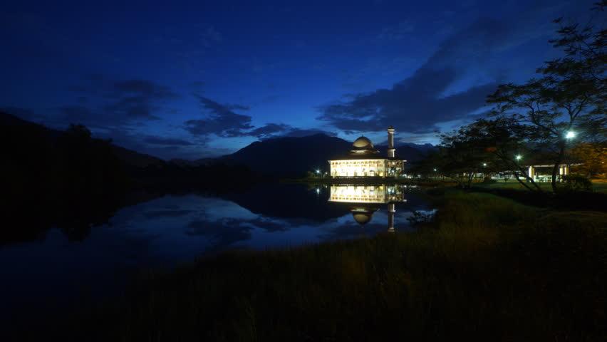 Masjid Darul Quran or Darul Quran Mosque, Selangor, Malaysia. Beautiful Sunrise And Reflection in Time lapse   Shutterstock HD Video #21580300
