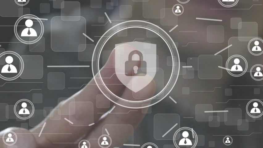Button locked shield security virus business online network