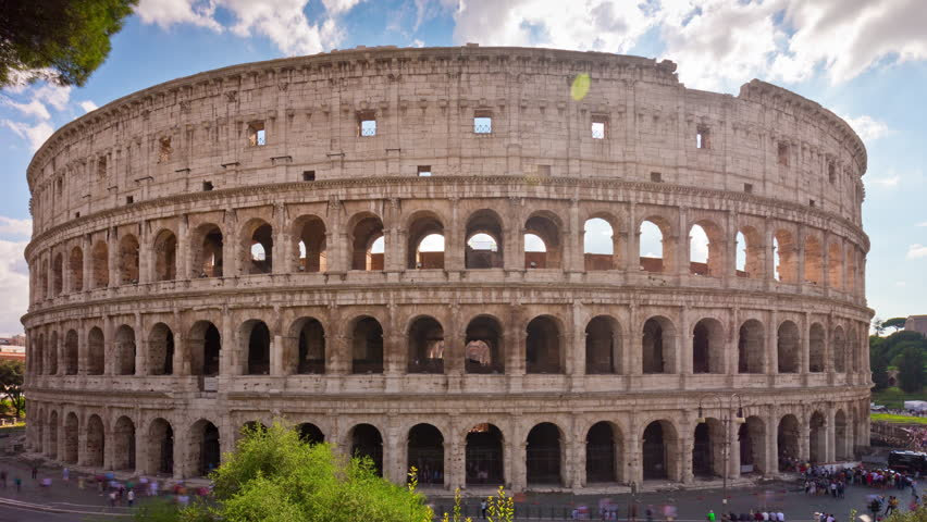 Famous Italian Architecture colosseum, rome, italy. aerial roman coliseum on sunrise