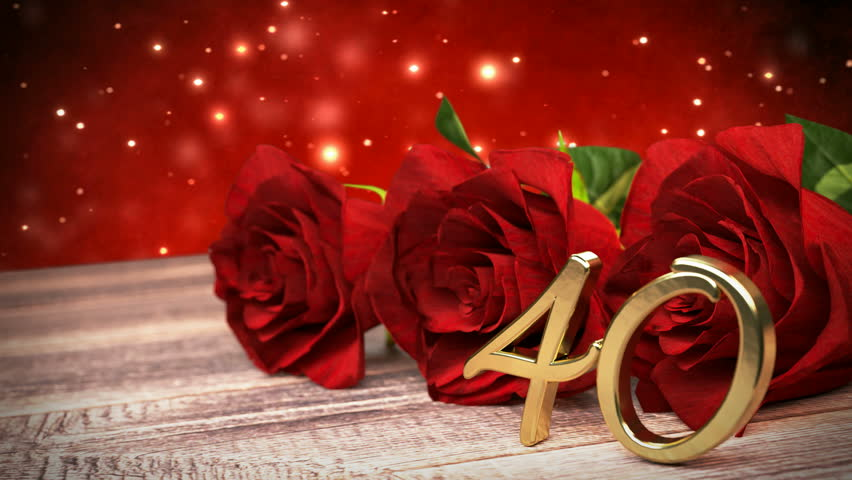 Seamless Loop Birthday Background With Red Roses On Wooden