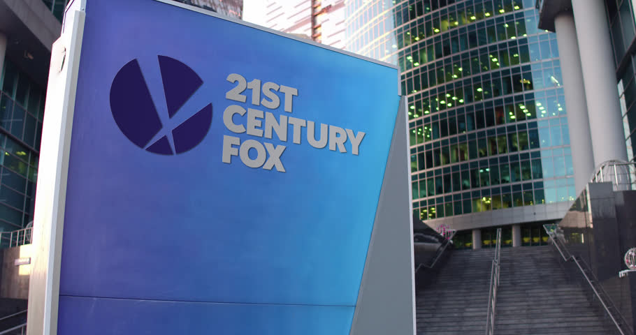Street signage board with 21st Century Fox logo. Modern office center skyscraper and stairs background. Editorial 4K 3D rendering