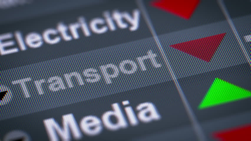 Index of Transport industry on the screen. Down. Looping.   Shutterstock HD Video #21676060