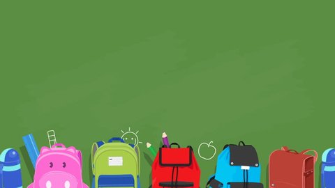 Back to school animated background ,school bags sliding on chalkboard background with kids drawing,video animation,loopable