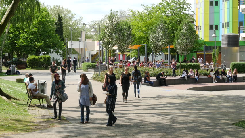 ESSEN, GERMANY - MAY 20, 2016: Campus of the University of Duisburg-Essen at midday