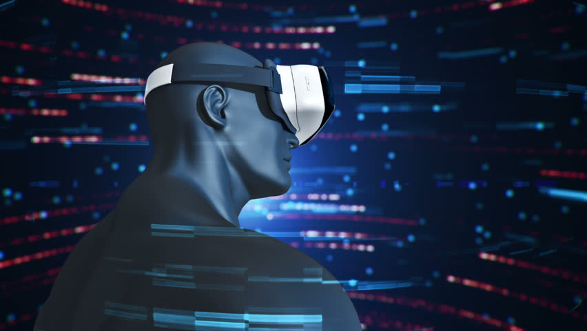 Animation of human with VR Headset at abstract space with particles and data. Virtual reality and technological industry. Animation of seamless loop. | Shutterstock HD Video #21710320