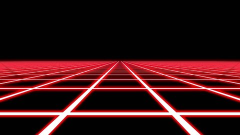 Infinite Flight Over Red Neon Square Grid Abstract VJ Motion Background Loop