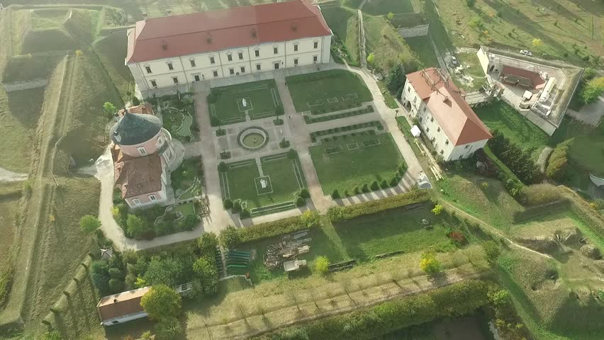 Ancient aerial shooting of the castle. The castle has a very nice view - like a fairy tale. Shooting with the best bird's-eye view shows the beauty of the castle and the area around.