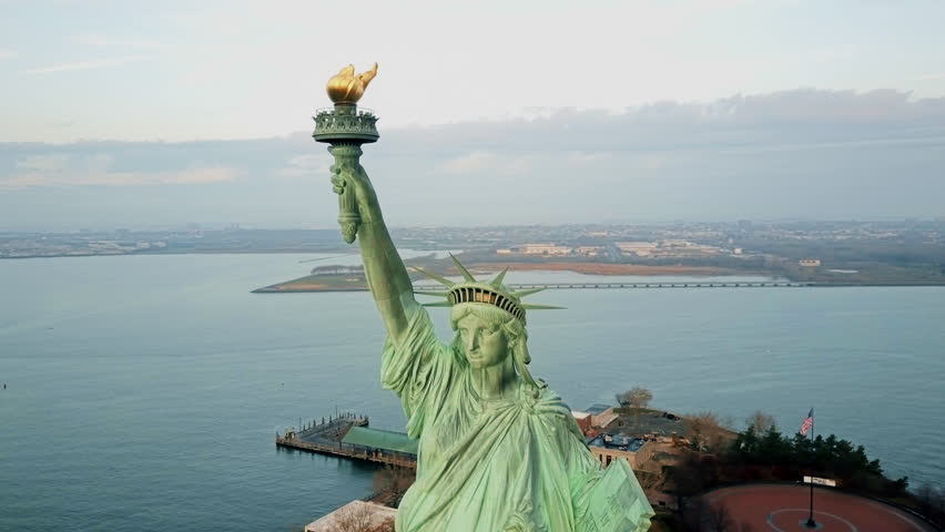 Aerial view Statue of Liberty 4K | Shutterstock HD Video #21784291