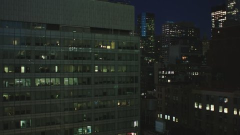 night Static Lock part large stitched together New York, rake, panorama looking across nice cityscape modern office buildings large modern building l foreground window POV, window plate, balcony