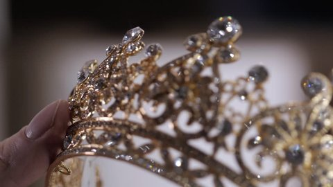 Diamond diadem with reflexion. Luxury Jewelry crown in wedding shop.
