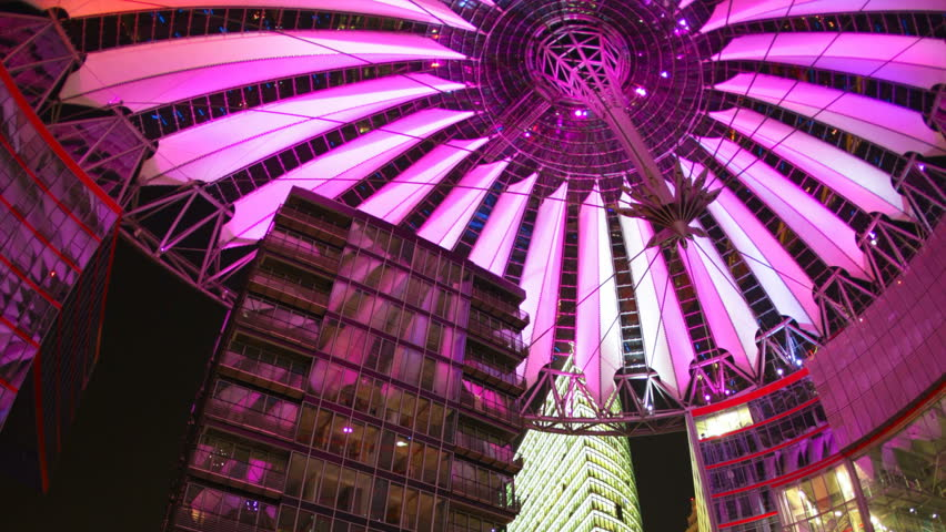 BERLIN, GERMANY - CIRCA 2011: (Timelapse View) Futuristic illuminated light Sony Center  dome with vertical motion zoom of dynamic famous landmark in Berlin Potsdamer Platz, Germany