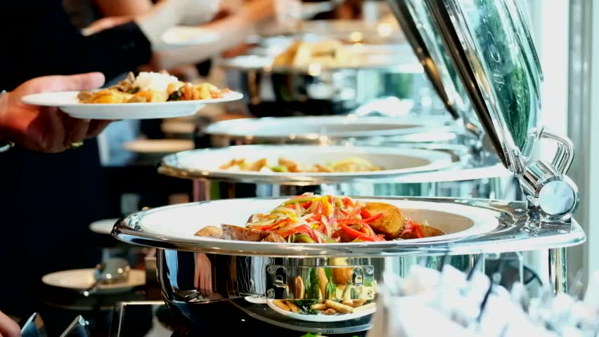 People group catering buffet food indoor in luxury restaurant with meat colorful fruits and vegetables | Shutterstock HD Video #21859720
