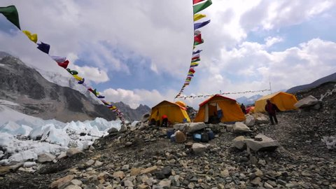 Panoramic view of tents established on Khumbu Icefall for tourists' convenience, Everest base camp. Picturesque mountains are on the background. Himalaya, Nepal