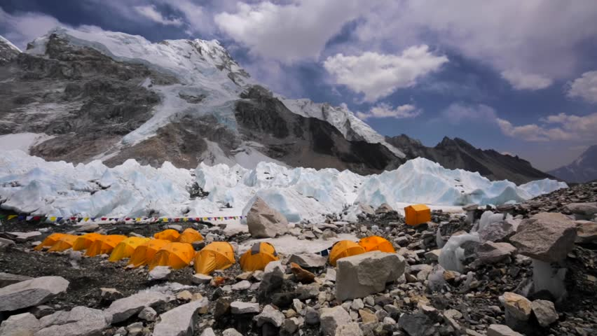 Panoramic view of tent village established for touristsu0027 convenience called Everest Base C& in Himalaya. EBC is situated on Khumbu Icefall and is visited ... & Panoramic View of Tent Village Stock Footage Video (100% Royalty ...