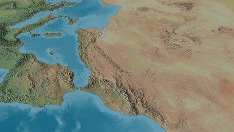 Revolution around Atlas mountain range - masks. Natural Earth. High resolution ASTER GDEM data textured
