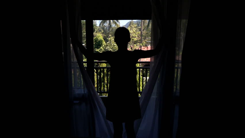 Woman unveil curtains in room with garden view, super slow motion 240fps  | Shutterstock HD Video #21897580