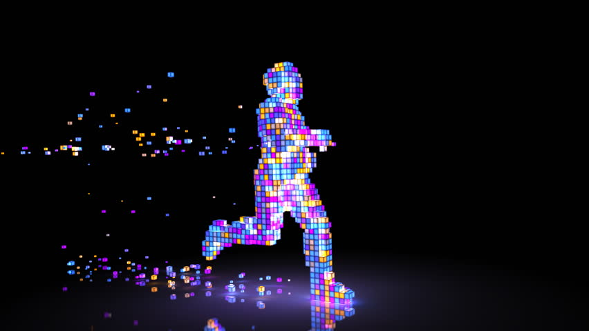 Running Pixel Man. Man figure consisting of glowing pixels runs through darkness. 3D animation