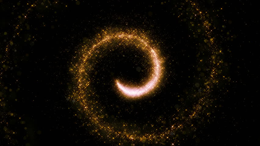 Gold glittering star dust twisted spiral of trail sparkling particles on black background. Space comet tail. Magic golden flying particles.