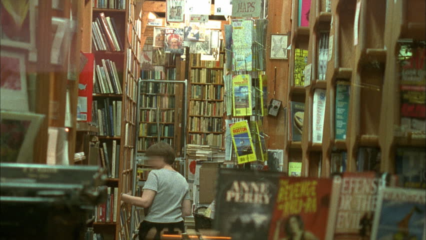 Needham, MA - CIRCA 2001 - Timelapse of book store attendant. Needham is primarily a bedroom community and commuter suburb of Boston.