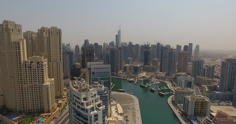 Aerial view by drone of the city in Dubai