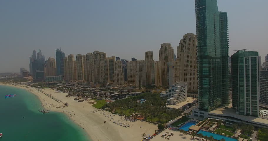 Aerial view by drone in Dubai looking at the beach and main resort hub.