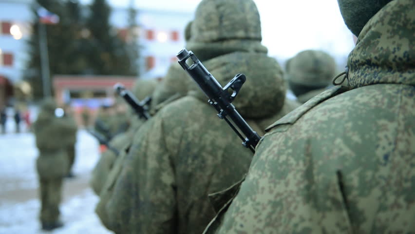 Russian army. Soldiers in formation on the parade ground