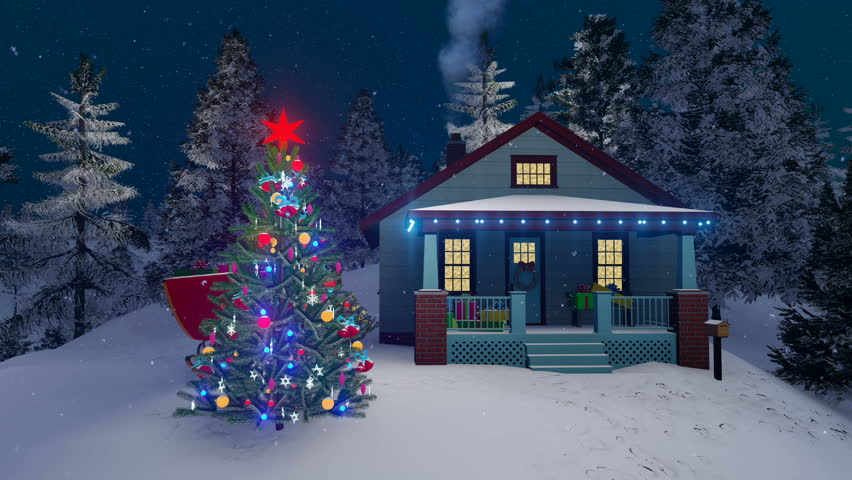 cozy rural house decorated for christmas with christmas lights smoking chimney and outdoor christmas tree - Snowfall Christmas Lights