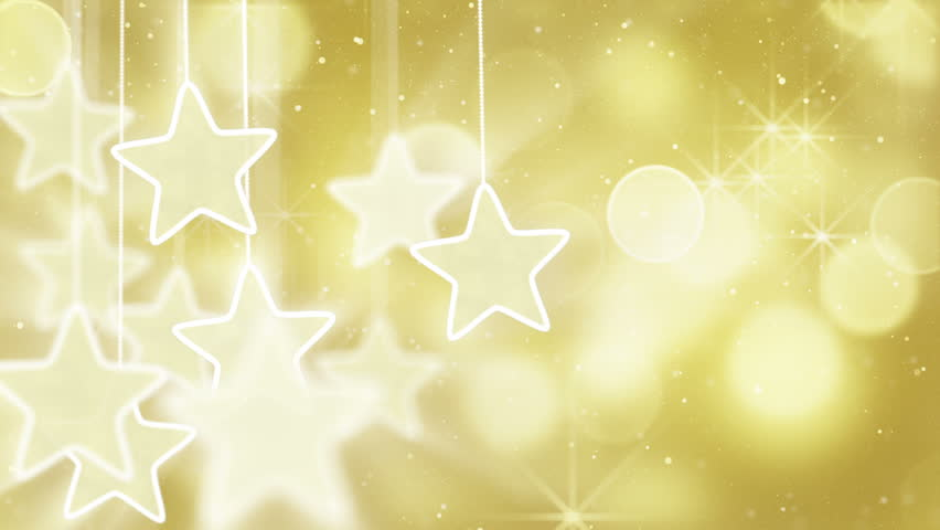 Gold stars dangling on a strings, bokeh lights. computer generated seamless loop abstract motion background HD 1080 progressive | Shutterstock HD Video #2197660