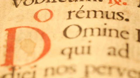 4K Horizontal sliding of a page of an old Gospel