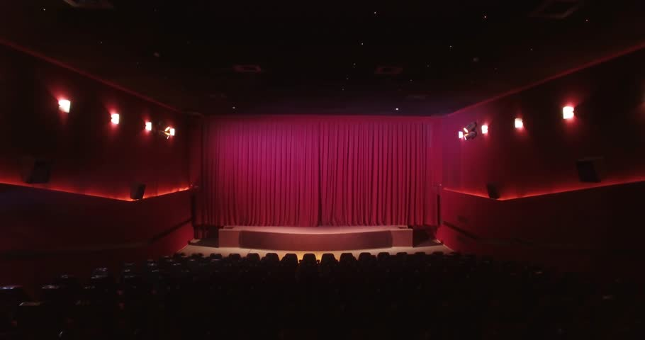 curtain opening in theater scene or cinema screen