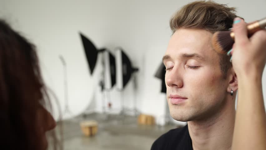 Male model makeup for for the photo shoot in studio 4K