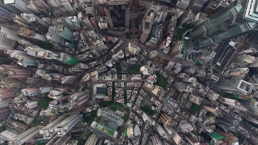 Aerial video from the top of skyscrapers roofs and tall office buildings, headquarters of international business corporation located in Hong Kong downtown, cityscape with development infrastructure #22037500
