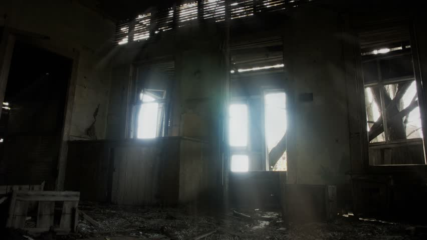 stock video clip of timelapse of haunted house interior
