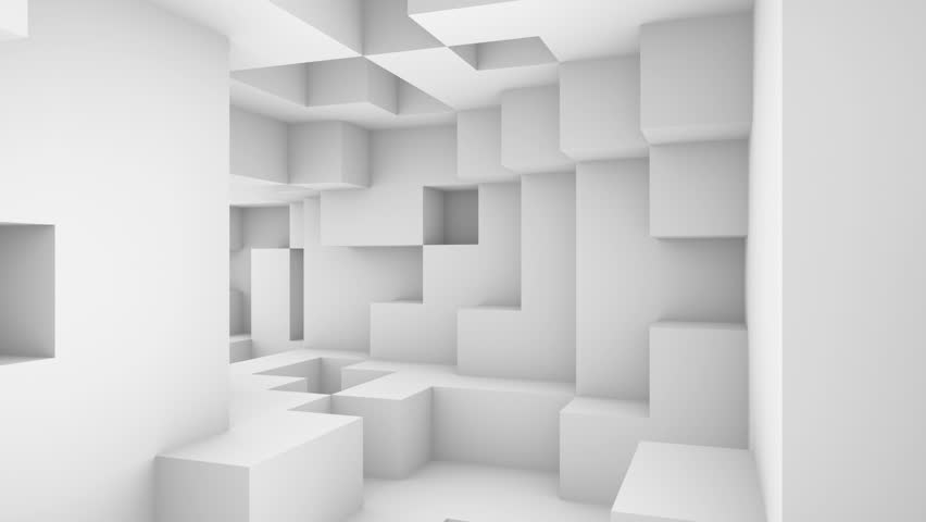 White 3d Background Abstract: Technology Blocks Abstract White Background 3D Animated