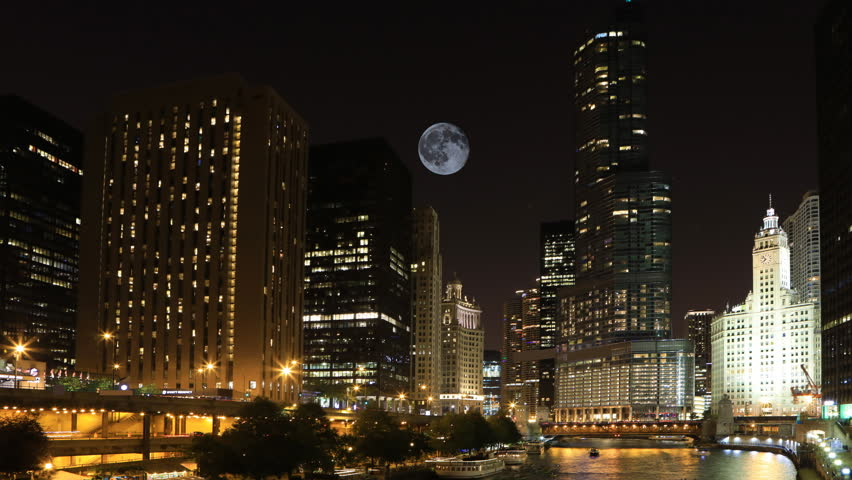 4K UltraHD Full Moon over Chicago, Illinois.