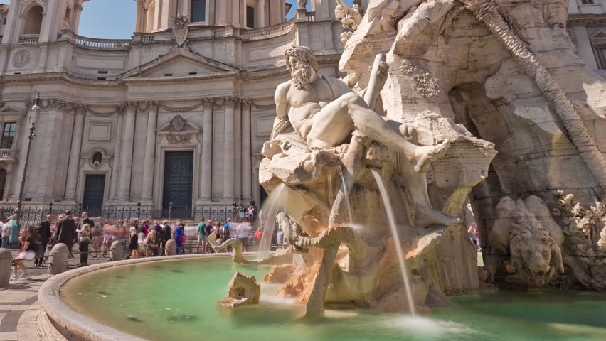 summer day piazza navona sant'agnese in agone front panorama 4k time lapse italy