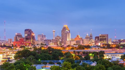 San Antonio, Texas, USA skyline time lapse.