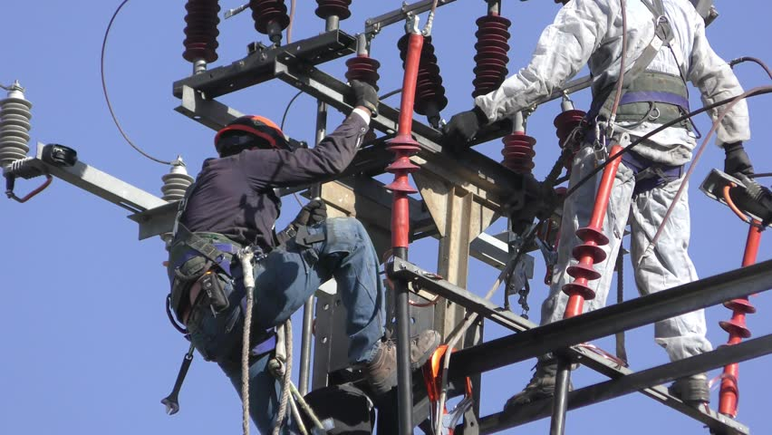 Lovely Electricians Of The Israeli Electric Co Fixing High Voltage Electrical  Lines, Replacing A Transformer After Images