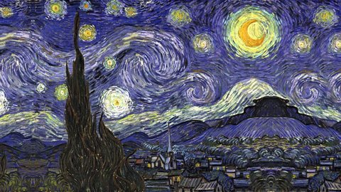 Composite animation of The Starry Night by Vincent van Gogh.