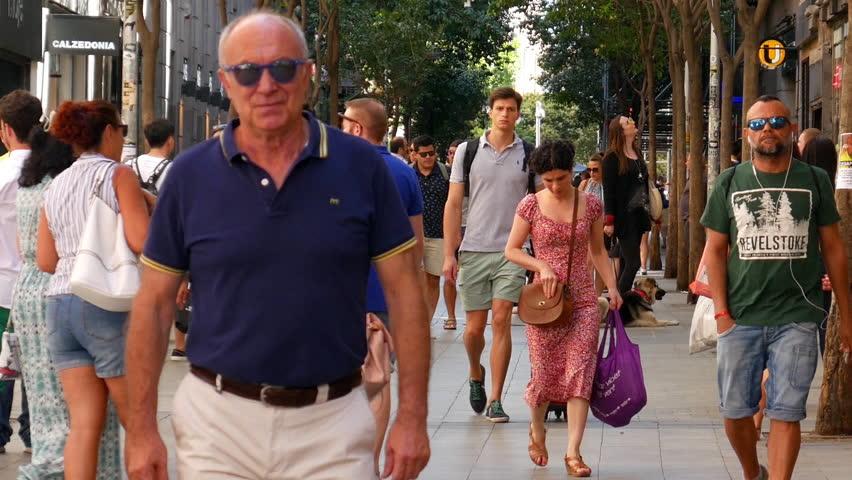 MADRID, SPAIN - SEPTEMBER 9: View of streetlife in the evening in Madrid on September 9, 2015 in Madrid, Spain.
