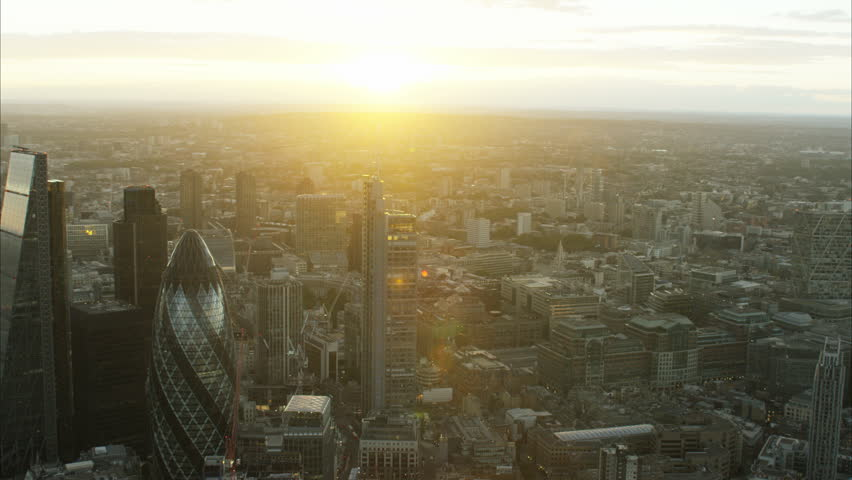 Aerial view at sunset of the suburbs of London UK