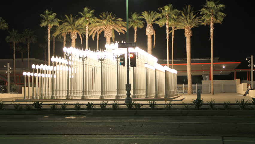 Miracle Mile, California. July 10, 2012: Night Time lapse Lamps at Los Angeles Contemporary Museum on Wilshire, July 10, 2012 in Miracle Mile, California.