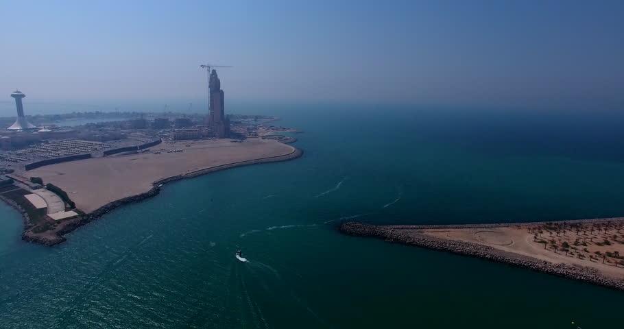 Tracking Boat Lulu Island Abu Dhabi by drone