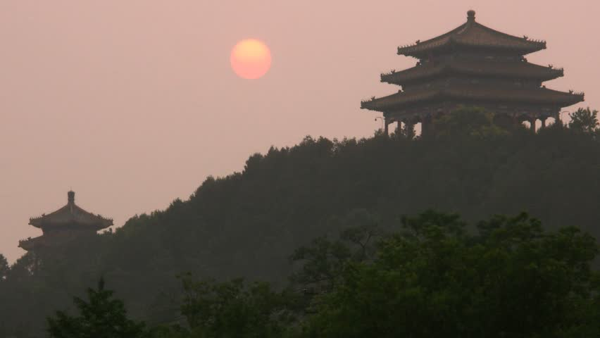 Timelapse of sunset with temples in Beijing, China.