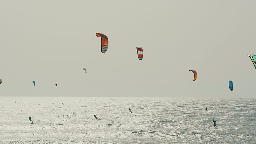 Kite Surfing in Atlantic Ocean, Extreme summer sport. Canary Islands.