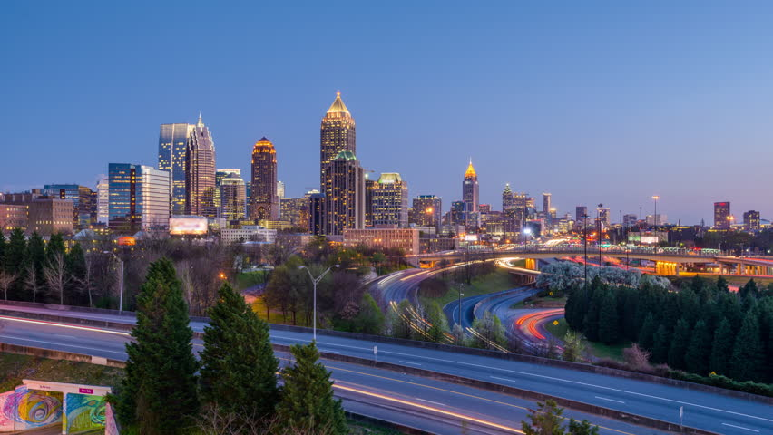 Atlanta, Georgia downtown skyline time lapse.
