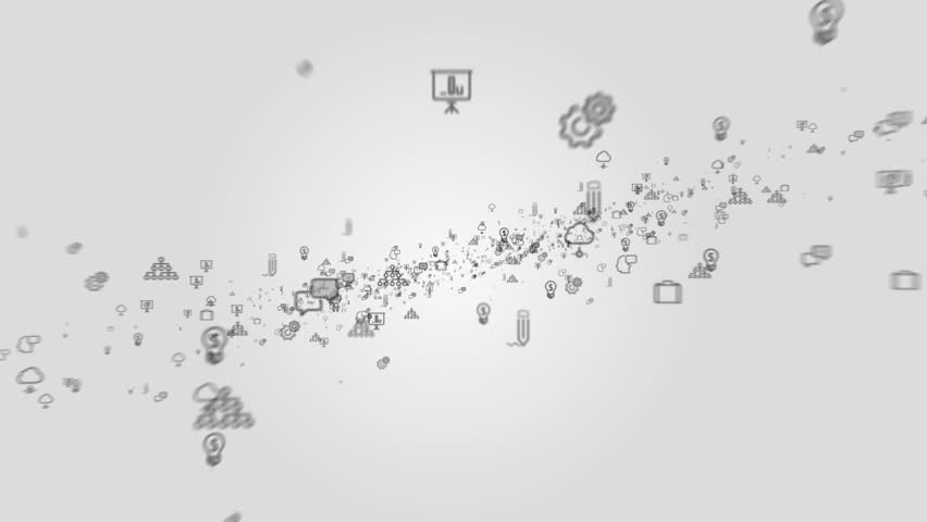 3d animation of business icons flying towards the camera against white background