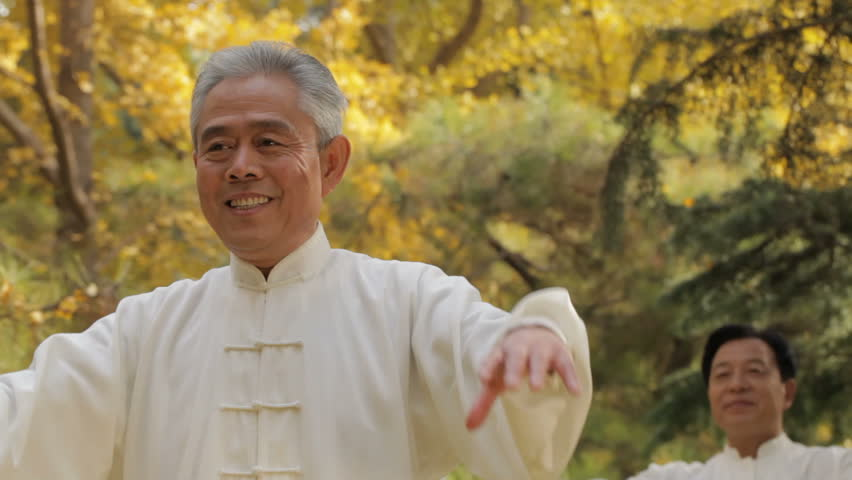 MS PAN SELECTIVE FOCUS Two elderly men doing Tai Chi in park / China