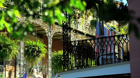 View of the French Quarter an ornate fashionable architectural part of Downtown New Orleans famous for Restaurants Louisiana USA