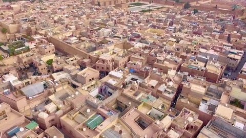 Morocco: Aerial view of the city of Marrakech/Marrakesh in Morocco, Africa with Bahia palast filmed by a drone